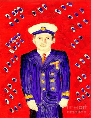 John F Kennedy In Uniform Bright Red Background Poster by Richard W Linford