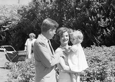 John F. Kennedy Jacqueline And Caroline Poster