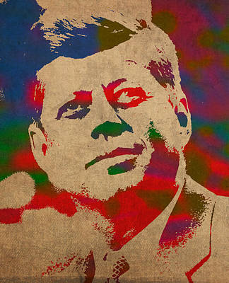 John F Kennedy Jfk Watercolor Portrait On Worn Distressed Canvas Poster
