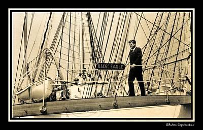 John F Kennedy On Coast Guard Eagle Poster