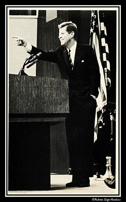 John F Kennedy Press Conference Poster by Audreen Gieger