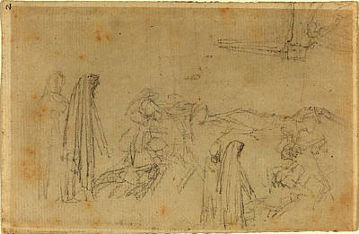 John Flaxman, British 1755-1826, Sketches With A Hooded Poster by Litz Collection