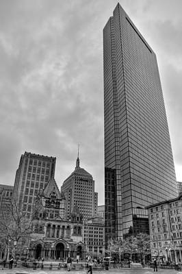 John Hancock And Trinity Church In Black And White - Boston Poster