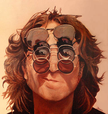 Poster featuring the painting John Lennon by Janice Dunbar