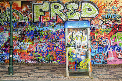 John Lennon Wall In Prague With Colorful Graffiti Poster