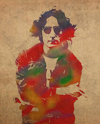John Lennon Watercolor Portrait On Worn Distressed Canvas Poster