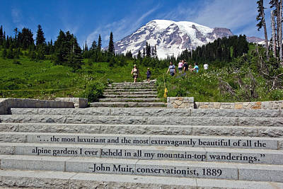 John Muir Quote At Mt Rainier Poster by Bob Noble Photography