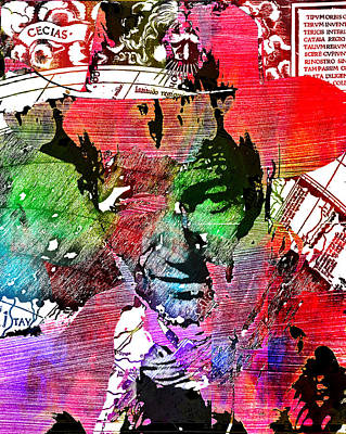 John Wayne Unmasked - Collage Poster by Robert R Splashy Art Abstract Paintings