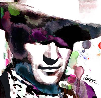 John Wayne Water Color Pop Art By Robert R Poster