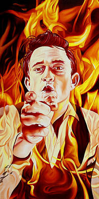 Poster featuring the painting Johnny Cash And It Burns by Joshua Morton