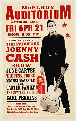 Johnny Cash Concert Poster Poster by Bill Cannon