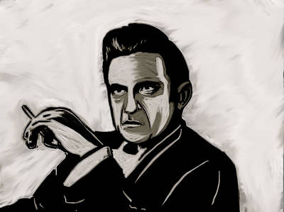 Poster featuring the painting Johnny Cash by Jeff DOttavio