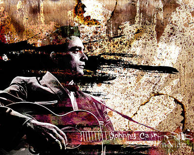 Johnny Cash Original  Poster by Ryan Rock Artist