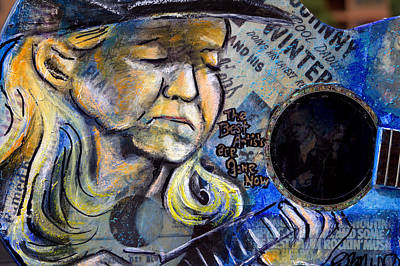 Johnny Winter Painted Guitar Poster by Fiona Kennard