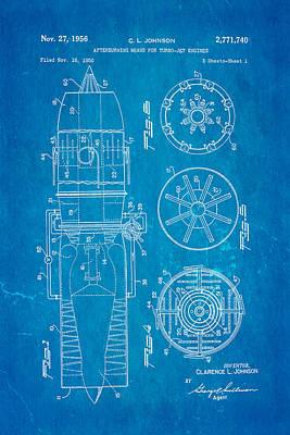 Johnson Jet Afterburner Patent Art 1956 Blueprint Poster by Ian Monk