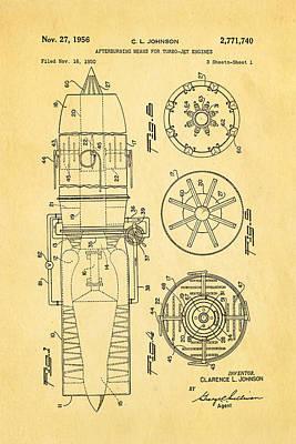 Johnson Jet Afterburner Patent Art 1956 Poster by Ian Monk