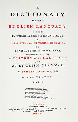 Johnson's Dictionary, 1755 Poster
