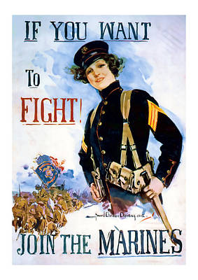 Join The Marines  Vintage Ww1 Art Poster by Presented By American Classic Art
