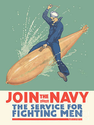 Join The Navy The Service For Fighting Men Poster by God and Country Prints