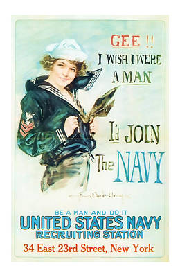 Join The Navy  Vintage Ww1 Art Poster by Presented By American Classic Art