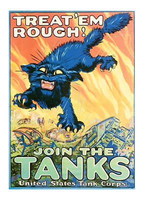 Join The Tanks Word War 1 Enlistment Art Poster by Presented By American Classic Art