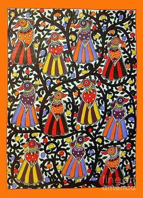 Joint Family Of Birds-madhubani Painting Poster