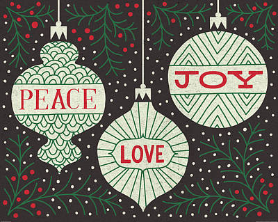 Jolly Holiday Ornaments Peace Love Joy Poster by Michael Mullan
