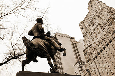 Jose Marti Equestrian Statue And The Ritz-carlton Vintage Look Poster by RicardMN Photography
