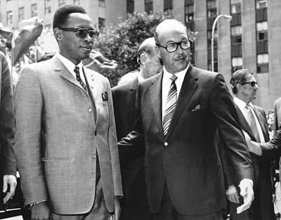 Joseph Mobutu And Sarnoff Poster by Underwood Archives