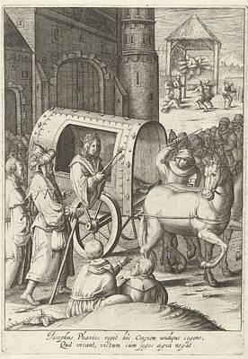 Joseph Pulls A Wagon Across Egypt, Robert De Baudous Poster by Robert De Baudous And Lucas Van Leyden