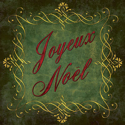 Joyeux Noel In Green And Red Poster by Caitlyn  Grasso