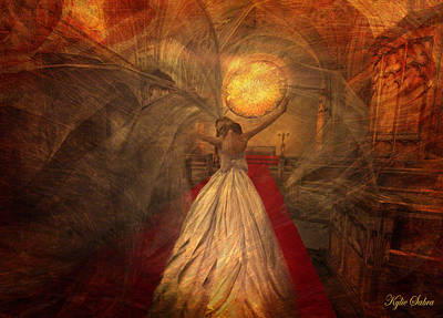 Poster featuring the digital art Joyous Bride by Kylie Sabra
