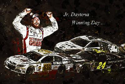 Jr. Daytona Win Poster by Dennis Wickerink