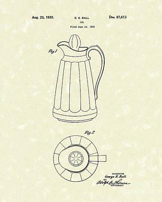 Jug 1932 Patent Art Poster by Prior Art Design