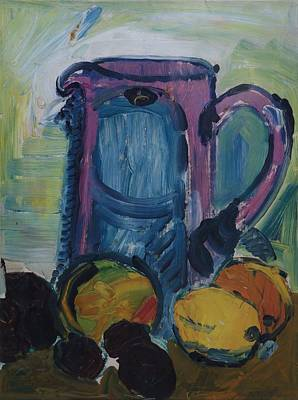 Jug With Chesnuts Oil On Canvas Poster