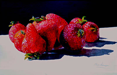 Poster featuring the painting Juicy Strawberries by Sher Nasser