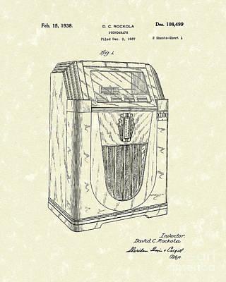Jukebox 1938 Patent Art  Poster by Prior Art Design
