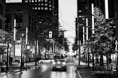 junction of west pender street and granville downtown city at night Vancouver BC Canada Poster