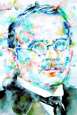Jung - Watercolor Portrait.3 Poster by Fabrizio Cassetta