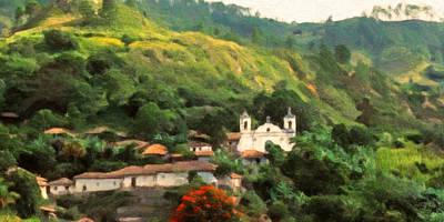 Poster featuring the digital art Jungle Church Honduras by Spyder Webb