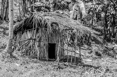 Jungle Hut In A Tropical Rainforest - Black And White Poster