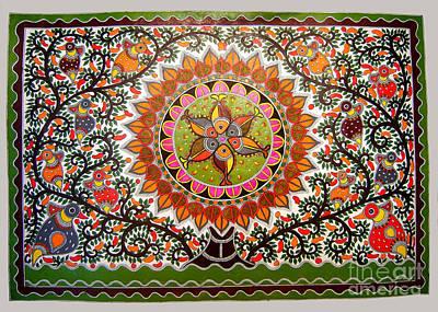 Jungle Life-madhubani Paintings Poster