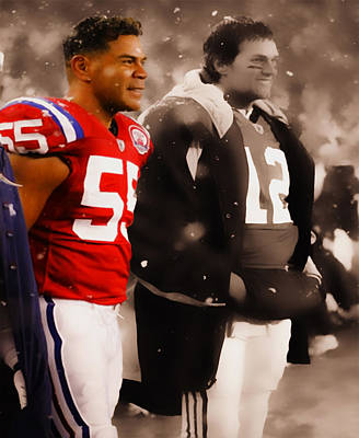 Junior Seau And Tom Brady Poster by Brian Reaves