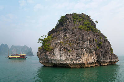 Junk Boat And Karst Islands In Halong Poster by Keren Su