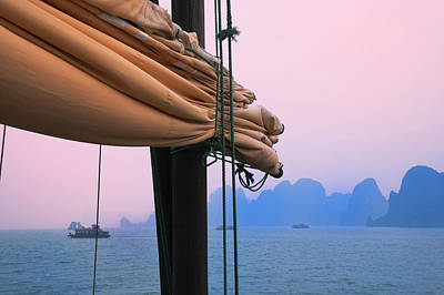 Junk Boats And Karst Islands In Halong Poster