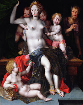 Jupiter As A Satyr With Antiope And Their Twins, Amphion And Zethos Poster by Vincent Sellaer