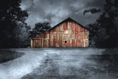 Night Time Barn Poster