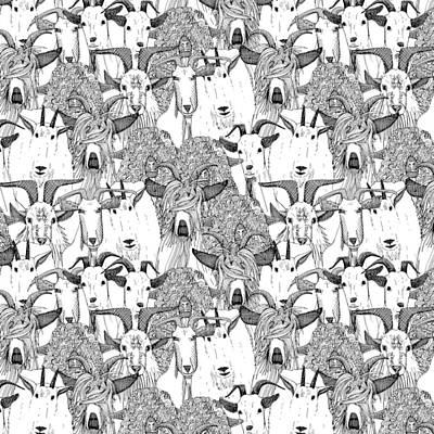 Just Goats Black White Poster