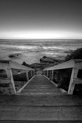 Just Steps To The Sea    Black And White Poster by Peter Tellone