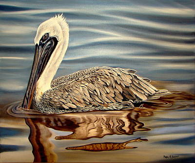 Poster featuring the painting Juvenile Pelican by Phyllis Beiser